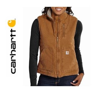 Carthartt Duck Canvas Sherpa Lined Fleece Vest